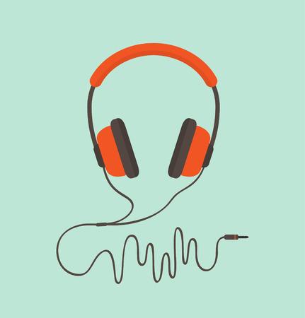 Illustration pour Orange headphones. Vector illustration - image libre de droit