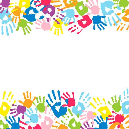 Ilustración de Background made from color handprints. - Imagen libre de derechos