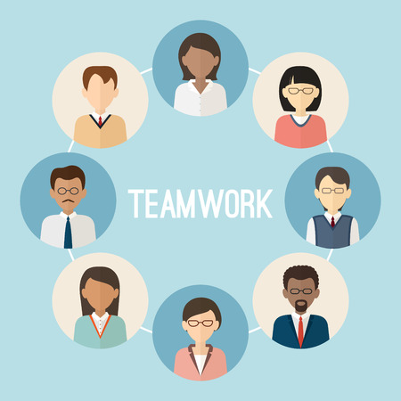 Illustration pour International teamwork. Colorful business people face. Trendy flat style. - image libre de droit