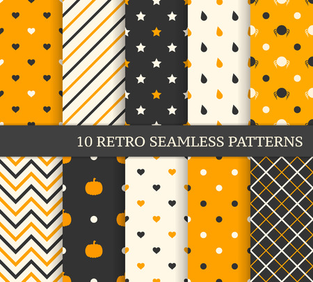 Illustration pour 10 retro different seamless patterns. Black and orange. - image libre de droit