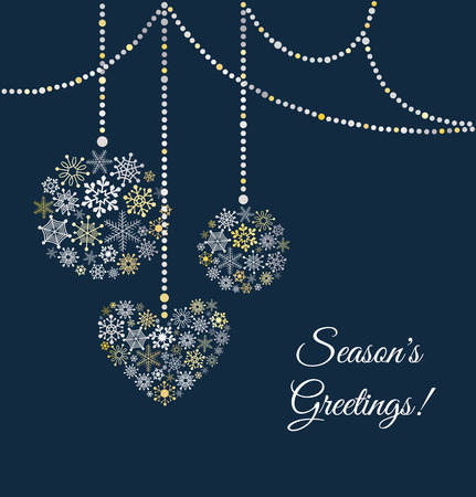 Illustration for Blue background with christmas ball made of snowflakes. Greetings card. Vector Illustration - Royalty Free Image