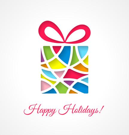 Illustration pour Christmas card template with cut out multicolor gift. Vector illustration. - image libre de droit