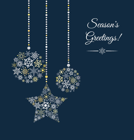 Illustration for Blue background with christmas ball made of snowflakes. - Royalty Free Image