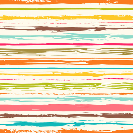 Illustration pour Colorful stripes seamless pattern. Abstract background with hand drawn stripes. Vector watercolor lines background. - image libre de droit