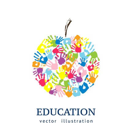 Illustration pour Apple made from hands. Abstract vector background. Education concept - image libre de droit