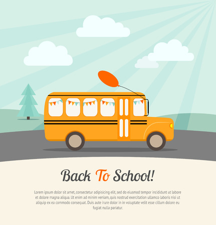 Photo pour School bus with festive flags and balloon rides to school. Back to school poster.Vintage background. Flat vector illustration. - image libre de droit