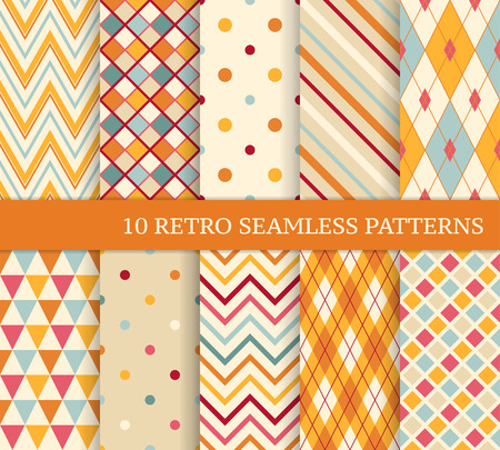 Photo pour 10 retro different soft seamless patterns. Colorful geometric background. - image libre de droit