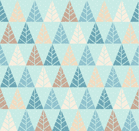 Illustration pour Vector seamless pattern with stylized tree and snowfall. Colorful geometric ornament. Winter background - image libre de droit