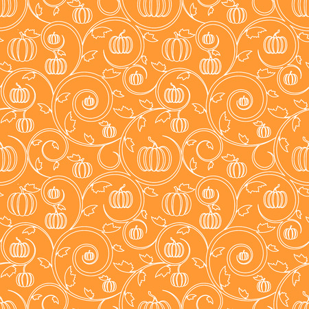 Photo for Orange seamless pattern with pumpkin, leaves and swirls. Stylish linear seamless background - Royalty Free Image