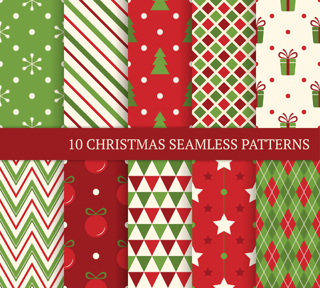 Illustration pour 10 Christmas different seamless patterns.  - image libre de droit