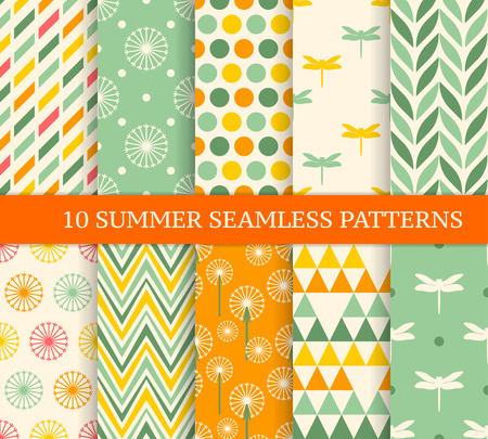Illustration pour Ten retro different summer seamless patterns. Endless texture for wallpaper, fill, web page background, texture. Colorful geometric background. - image libre de droit