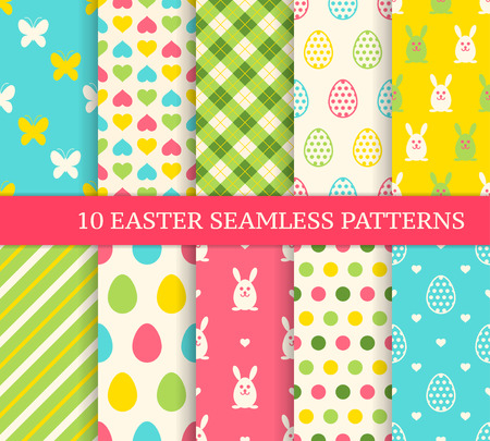 Illustration pour Ten different easter seamless patterns. Endless texture for wallpaper, fill, web page background, texture. Colorful cute background with easter bunny and ornate eggs. - image libre de droit