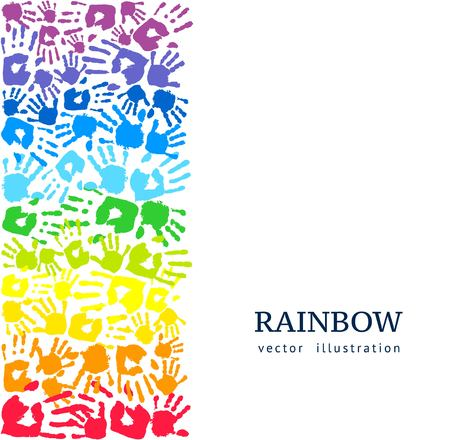 Illustration pour Border made of colored hands. Rainbow background. Abstract vector illustration - image libre de droit