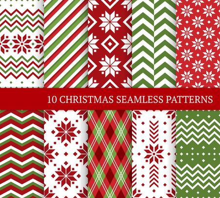 Illustration pour Ten Christmas different seamless patterns. Xmas endless texture for wallpaper, web page background, wrapping paper and etc. Retro style. Snowflakes, zigzag, color lines and Nordic motifs - image libre de droit