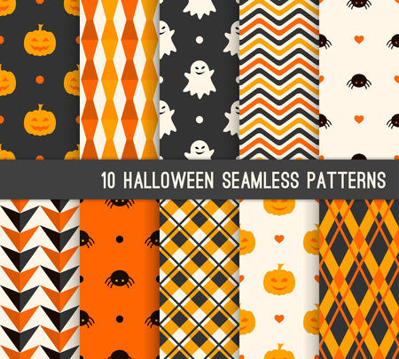 Illustration pour Ten Halloween different seamless patterns. Endless texture for wallpaper, web page background, wrapping paper and etc. Pumpkin and smiling ghost, spider, stripes, checkered template - image libre de droit