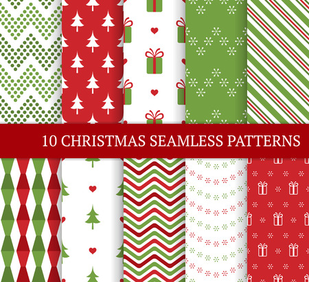 Illustration pour Ten Christmas different seamless patterns. Xmas endless texture for wallpaper, web page background, wrapping paper and etc. Retro style. Snowflakes, zigzag and Christmas tree. - image libre de droit