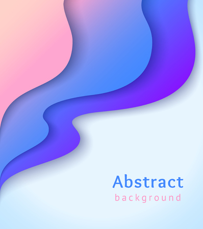 Illustration for Abstract cover with colorful liquid shapes. Wavy shapes with gradient on blue background. Vector design layout for banners presentations, flyers, posters and invitations - Royalty Free Image
