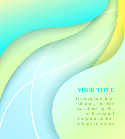Illustration for Abstract cover with colorful wavy shapes on green background. Vector design layout for banners presentations, flyers, posters and invitations. Bright summer backdrop - Royalty Free Image