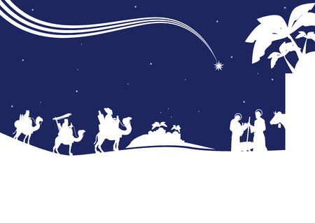 Illustration pour Nativity scene with the three wise men and the child Jesus. - image libre de droit