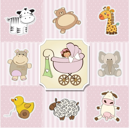 Illustration for baby shower card template  vector illustration - Royalty Free Image
