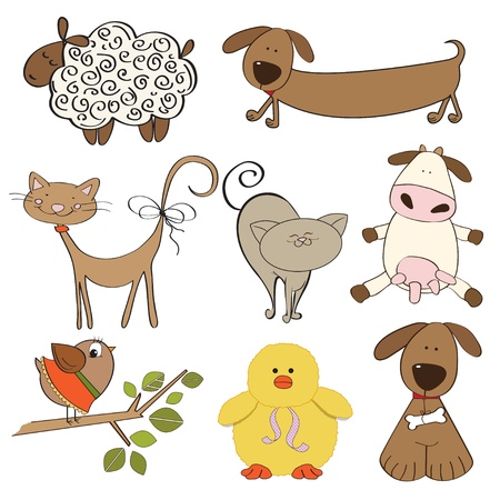 illustration of isolated farm animals set on white background