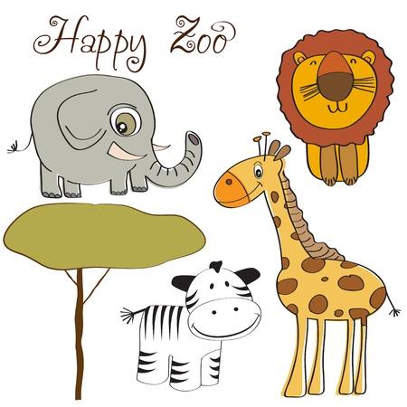 vector illustration of cute wild animal set including giraffe, zebra, lion and elephant
