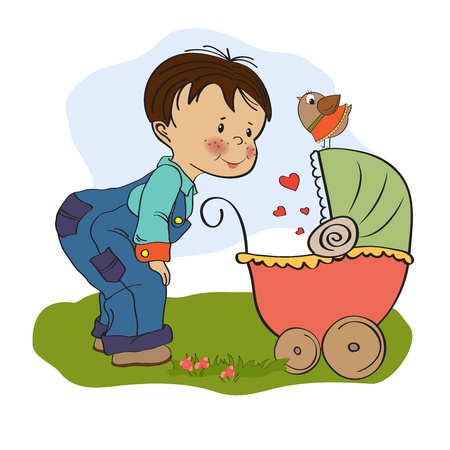 funny big brother with stroller, illustration in  format