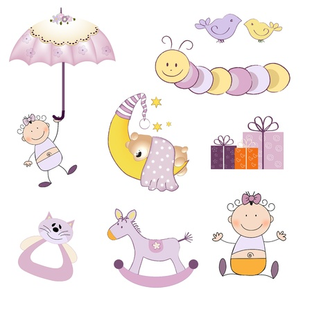 Ilustración de baby girl items set isolated on white background, vector illustration - Imagen libre de derechos