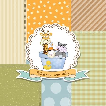 Illustration pour baby shower announcement card in vector format - image libre de droit