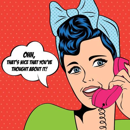 Illustration pour woman chatting on the phone, pop art illustration in vector format - image libre de droit