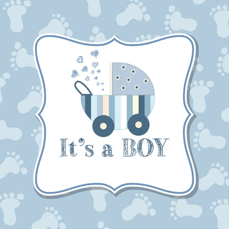 Illustration pour Baby boy  invitation for baby shower, vector format - image libre de droit