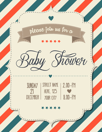 Illustration for baby shower invitation in retro style, vector format - Royalty Free Image