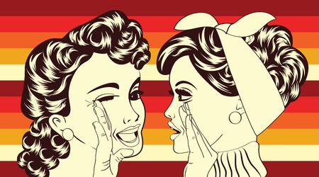 Illustration pour pop art retro women in comics style that gossip, vector illustration - image libre de droit