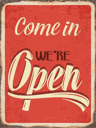 Photo pour Retro metal sign \Come in we\'re open\ - image libre de droit