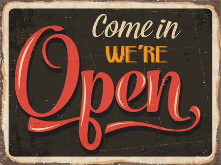 Ilustración de Retro metal sign \Come in we\'re open\ - Imagen libre de derechos