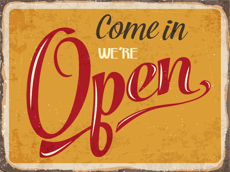 Photo pour Retro metal sign \Come in we\'re open\ - image libre de droit