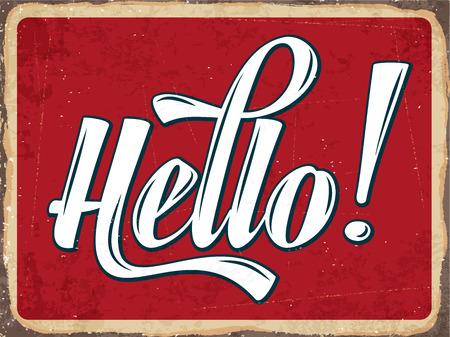 Ilustración de Retro metal sign Hello,  - Imagen libre de derechos