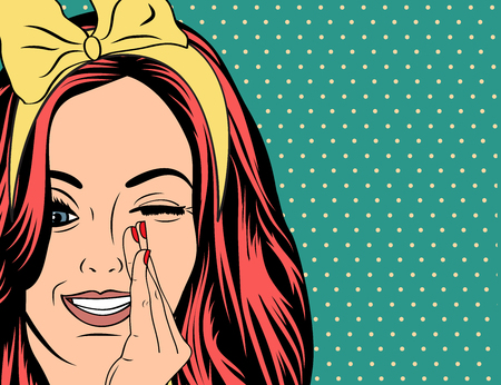 Ilustración de Pop Art illustration of girl with the red hair. Pop Art girl. Party invitation. Birthday greeting card.Vintage advertising poster. Fashion woman with speech bubble. - Imagen libre de derechos