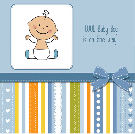 Illustration pour baby boy shower card - image libre de droit