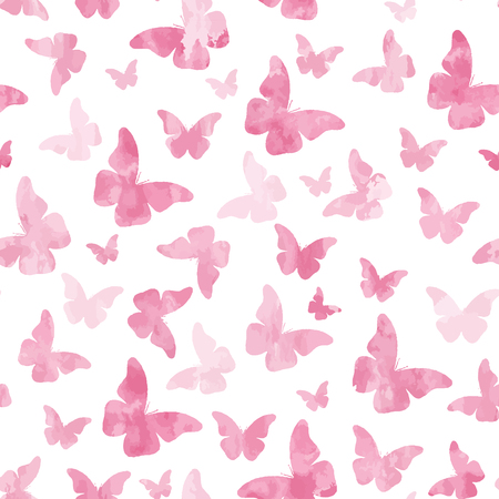 Illustration pour Seamless watercolor pink  butterflies pattern. - image libre de droit