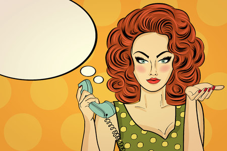 Ilustración de Sexy pop art woman  talking on a retro phone. Pin up girl. Vector illustration - Imagen libre de derechos