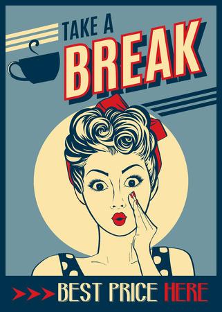 Illustration pour Advertising coffee retro poster with pop art woman - image libre de droit