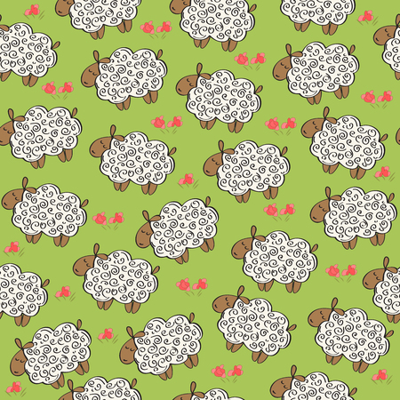 Illustration for Pattern with sheep - Royalty Free Image