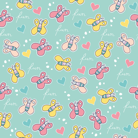 Illustration for Beautiful seamless pattern with doodle butterflies. - Royalty Free Image