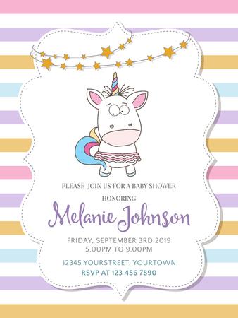 Ilustración de Beautiful baby shower card template with lovely unicorn baby girl , vector format - Imagen libre de derechos