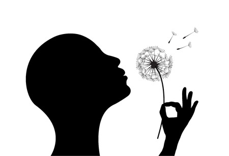 Ilustración de Stylized  woman on white background blowing a dandelion. - Imagen libre de derechos