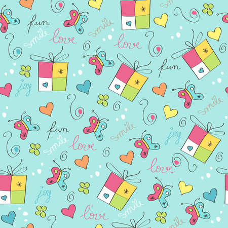 Illustration for delicate seamless pattern with gift boxes - Royalty Free Image