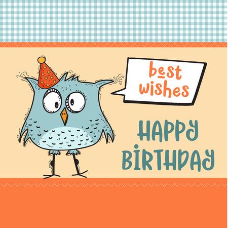 Illustration pour happy birthday card  with funny doodle bird, vector format - image libre de droit