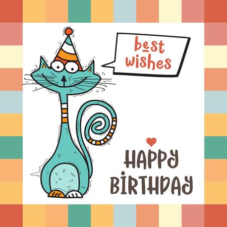 Illustration pour happy birthday card  with funny doodle cat, vector format - image libre de droit