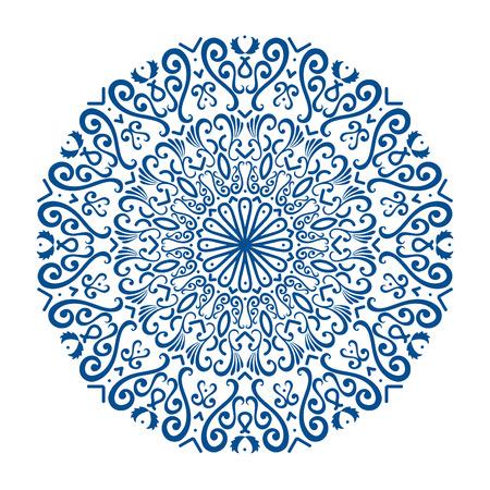 Illustration pour Oriental vector round ornament with arabesques elements. Traditional classic ornament. Vintage pattern with arabesques. - image libre de droit